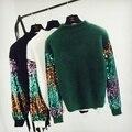 Модные свободные блестки рукавом пуловер женщины осень зима вязаный свитер