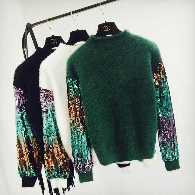 Модные свободные блестки рукавом пуловер женщины на осень-зиму вязаный свитер