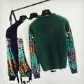 fashion loose sequins sleeve pullover women autumn winter  knitted sweater