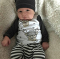 Infant Toddler Baby Boy Girl Clothes Sets Mr. Deer Full Sleeve T-shirt Top+Striped Pant Hats Outfit Set For 0-18M Baby