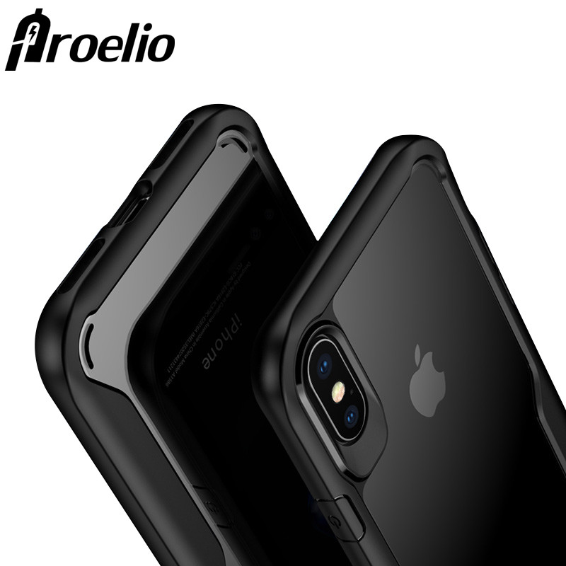 Proelio For iphone 7 8 Plus Case Transparent TPU Case Full Protection Shockproof Luxury Phone Cases Coque For Apple iphone X 10