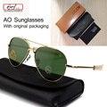 Mais novo Exército DOS EUA MILITAR AO Grife Aviador Lente de Vidro Óculos De Sol dos homens Óculos de Sol oculos masculino Com Caixa original