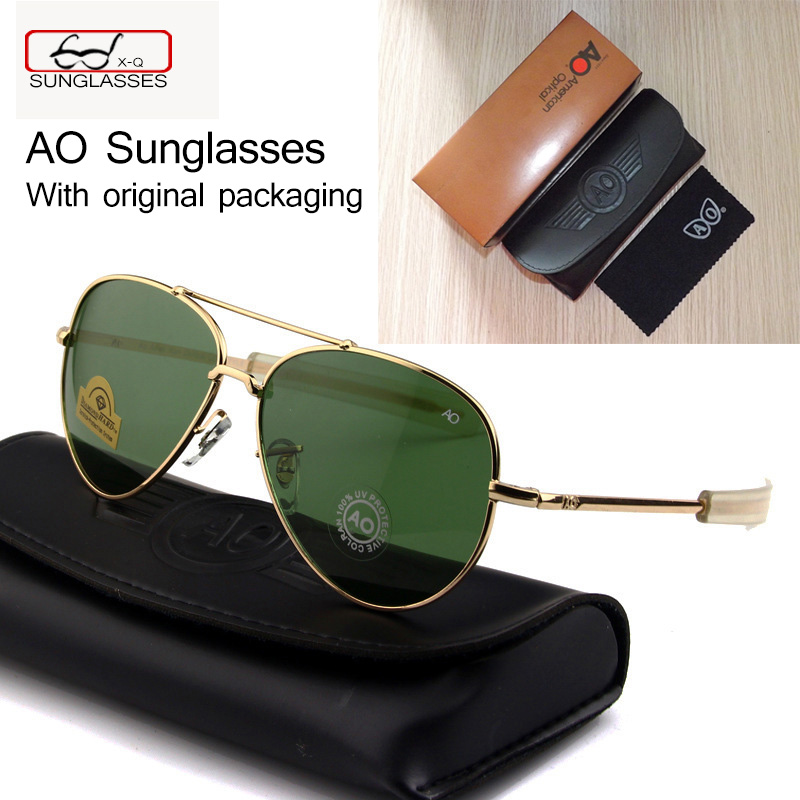 Newest US Army MILITARY AO Brand Designer pilots Sunglasses Glass <font><b>Lens</b></font> men Sun Glasses oculos masculino With original Case logo image