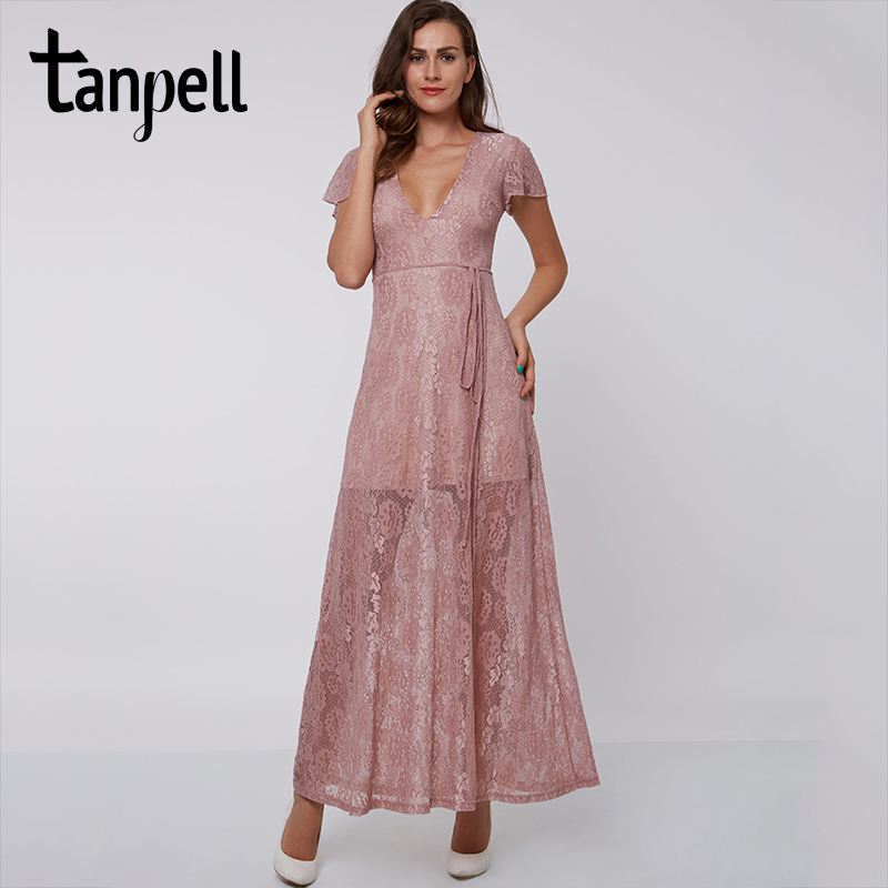 Tanpell pink evening dress sexy V-Neck Ankle-Length short sleeves A-Line lace party dress women holiday long evening dresses Платье