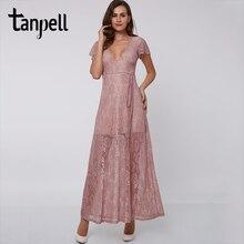 Tanpell sexy V ausschnitt abendkleid rosa Ankle Länge kurzen ärmeln A Line spitze party kleid formale prom lange abendkleider