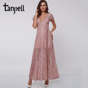 Image 1 - Tanpell vestido de noche rosa hasta el tobillo, sexy, de encaje