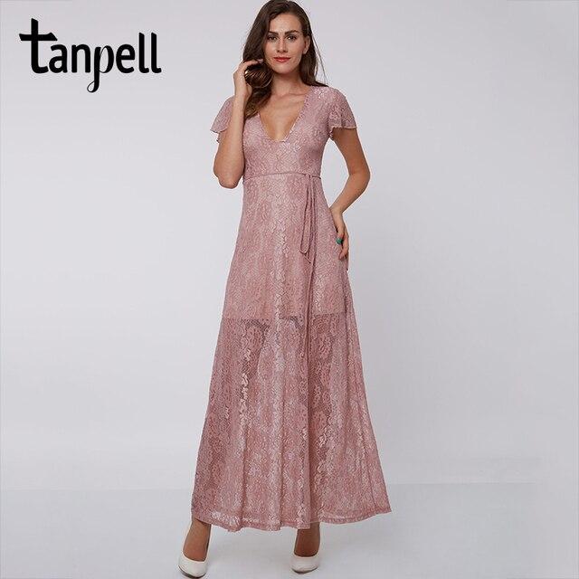 Tanpell vestido de noche rosa hasta el tobillo, sexy, de encaje
