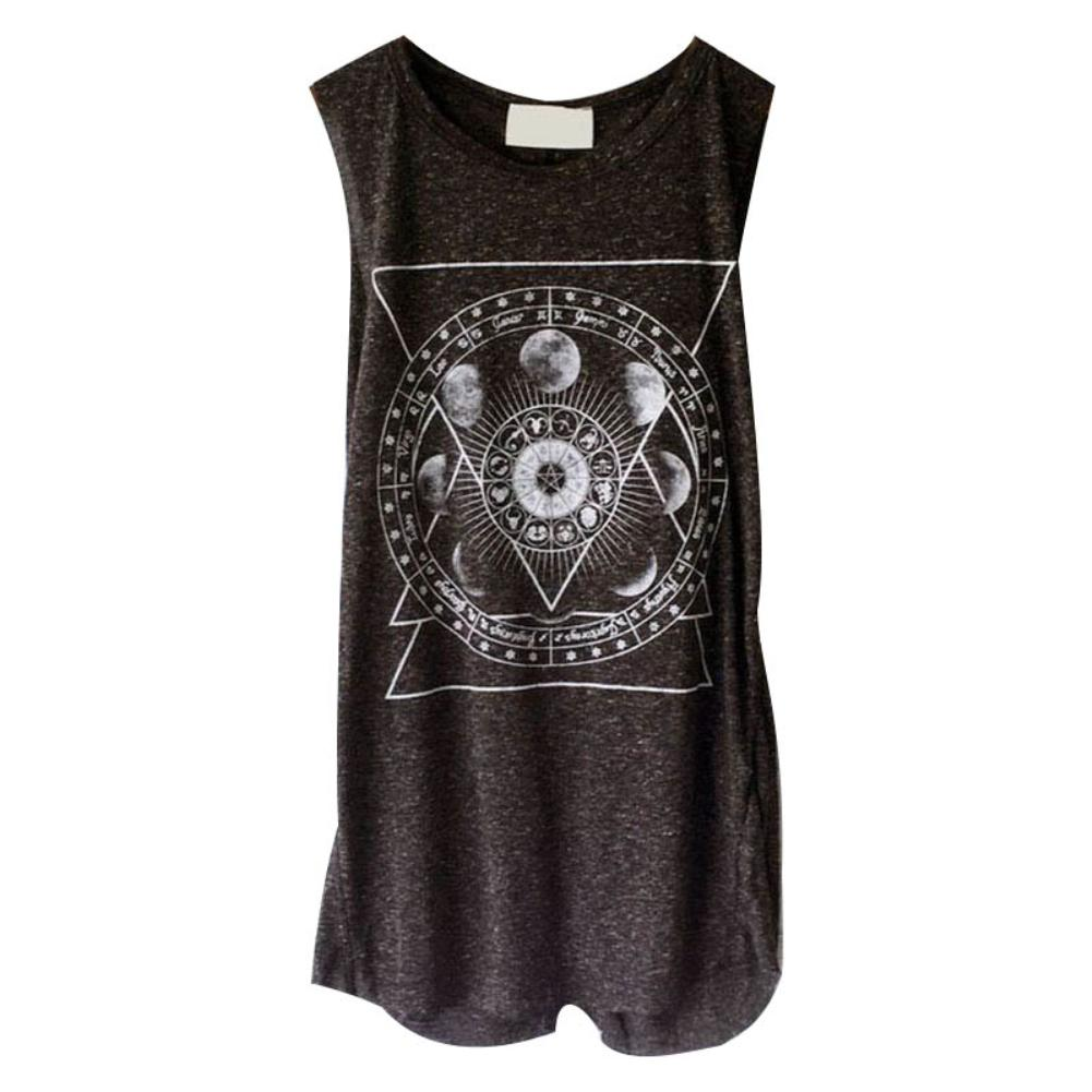 Women Summer Casual O-neck Sleeveless Vest Moon Flower Print Loose Tunic   Tank     Top   Black Grey Blue