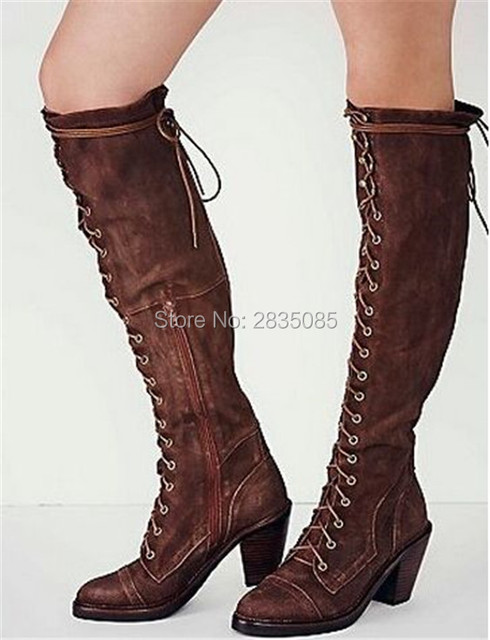 795d856f1a7 US $95.58 19% OFF|Botas Mujer 2018 Vintage Shoes Women Riding Boots Chunky  Heels Cross Tied Lace Up Long Booties Gladiator Knee High Boots Leather-in  ...