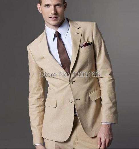 2016 Latest Design Two Buttons Beige Groom Tuxedos Notch Lapel Best Man Groomsman Men Wedding Suits (Jacket+Pants+Tie+Girdle)