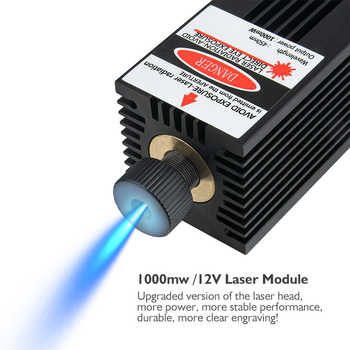 1000mw 12V Laser Module with TTL Adjustable Focus Tube 1W 450nm Laser Head for DIY Engraving Machine Accessories