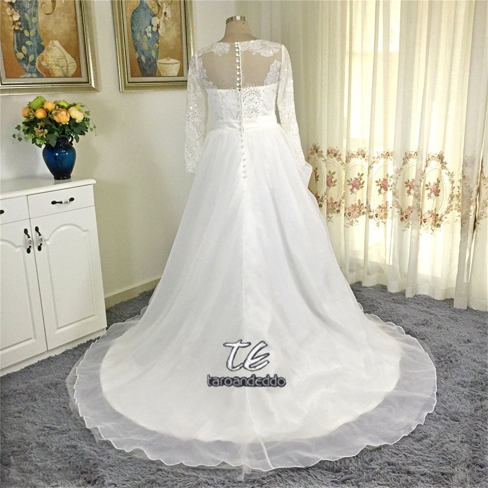 Organza Long Sleeved Wedding Dress CWG731 Lace Sleeves and a ...