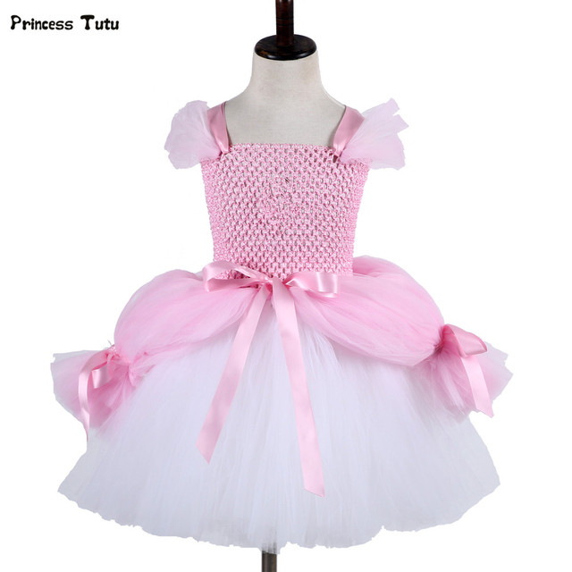 bbb83e185 Fancy Girl Mermai Ariel Dress Pink Princess Tutu Dress Baby Girl Birthday  Party Tulle Dresses Kids Cosplay Halloween Costume
