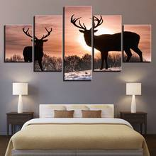Modern Canvas Painting Watercolor Abstract Wall Art 5 Set Forest Snow Deer Poster Print HD Modular Picture For Office Home Decor(China)