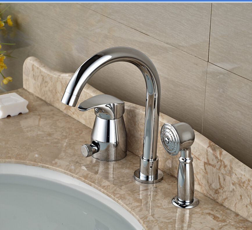 цена на Modern Bathroom Basin Deck Mounted Sink Faucet Waterfall Mixer tap With Hand Shower Chrome Finished