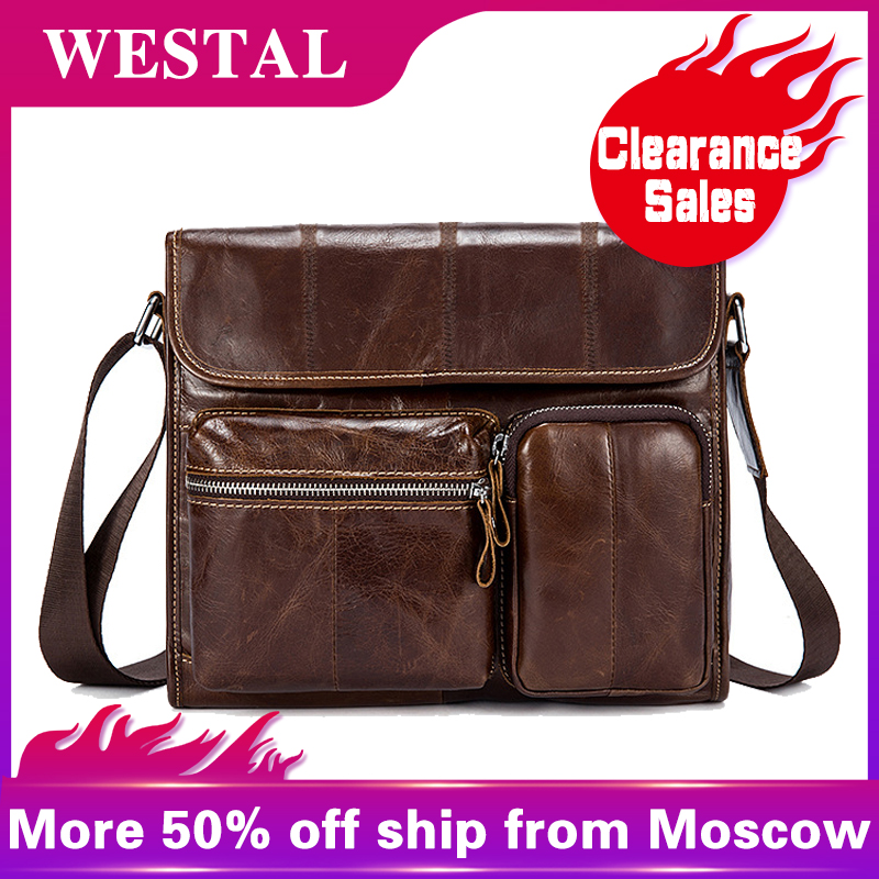 WESTAL bőr férfi táska alkalmi Crossbody táskák férfiaknak Fülbevaló valódi bőr Messenger táska Férfi válltáskák Bolsa 380