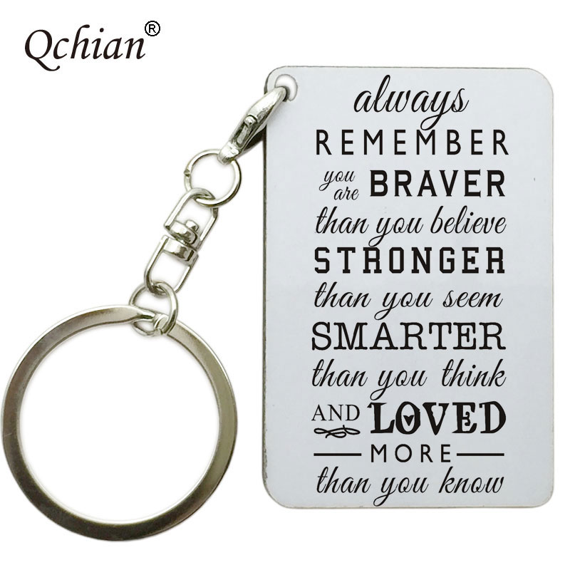 Always Remember You are Braver Than You Believe Stronger Than You Seem Jewelry Keychain Keyring Inspirational Gifts