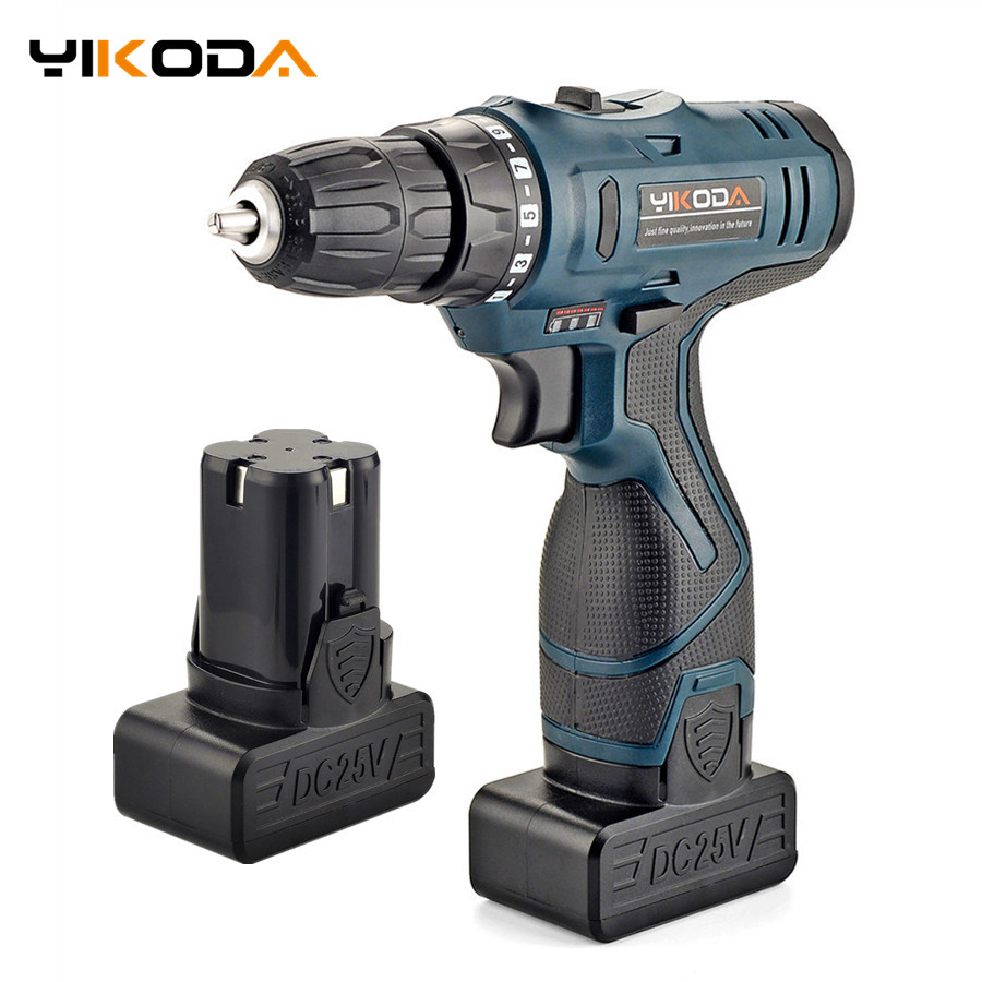 25V Electric Screwdriver Rechargeable Lithium Battery*2 Cordless Electric Drill Multifunctional Screwdriver Household Power Tool
