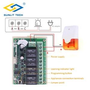 Image 3 - ערוץ 4 מקלט אלחוטי קווית ממסר קשר להמיר אות אלחוטית אזעקה מגנטית Wired