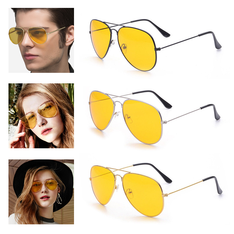 Car Yellow Lens UV400 Anti-Glaring Night Vision Driving Glasses Driver Safety Aviator Sunglasses Eye Wear Goggle For Ford VW BMW