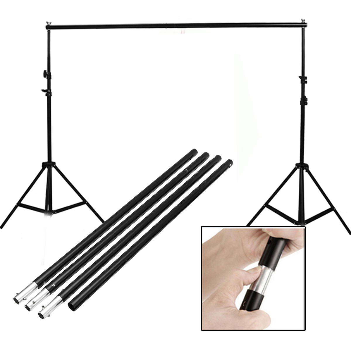 2.8m/9.2ft Adjustable Crossbar for Photography Background Support Photo Backdrop Stand System for Photo Studio 10ft adjustable background support stand photo backdrop crossbar kit photography