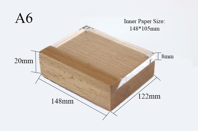 A6 Shelf Table Price Sign Acrylic Block Wood Frame Label Holder Desk ...