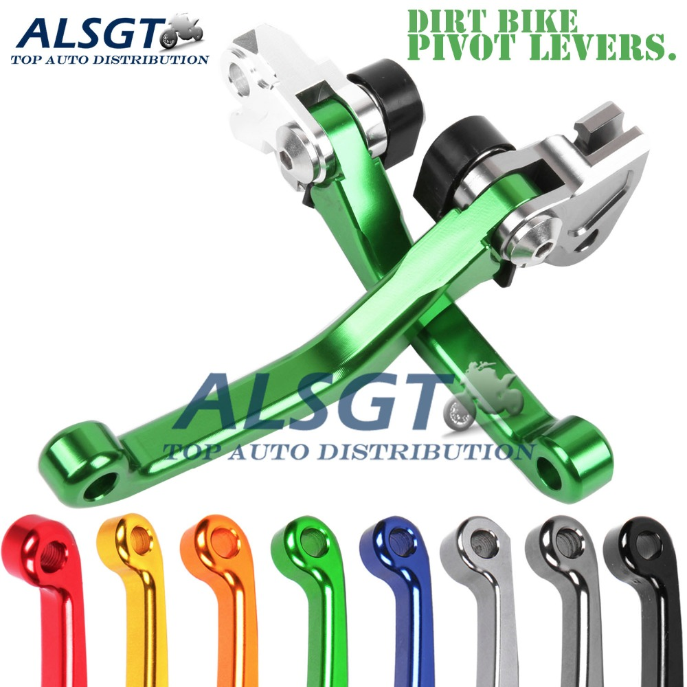 Green KX100 2001-2019 FTRT Pivot Dirt bike Brake Clutch Levers for Kawasaki KX65 2000-2019,KX85 2001-2019 KX125 2000-2005,KX250 2000-2004,KX250F 2004