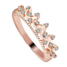 Authentic White Gold Color My Princess Queen Crown Ring Design Wedding Rings For Women Jewelry(China)
