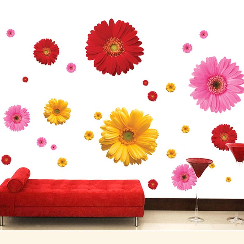 Colorful Flower Floral Wall Stickers Living Room Bedroom Wall Decals Home Decor Sticker Kitchen