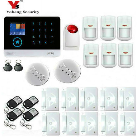 Yobang Security Android IOS Touch Screen Alarm Panel Home Security 3G WIFI Alarm Strobe Siren Smoke Fire Alarm Kits yobang security ios