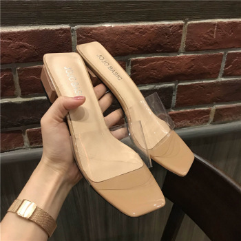 transparent square toe jelly sandals women med heel open toe sandals 2018 european brand design gladiator sandalias creepers big toe sandal