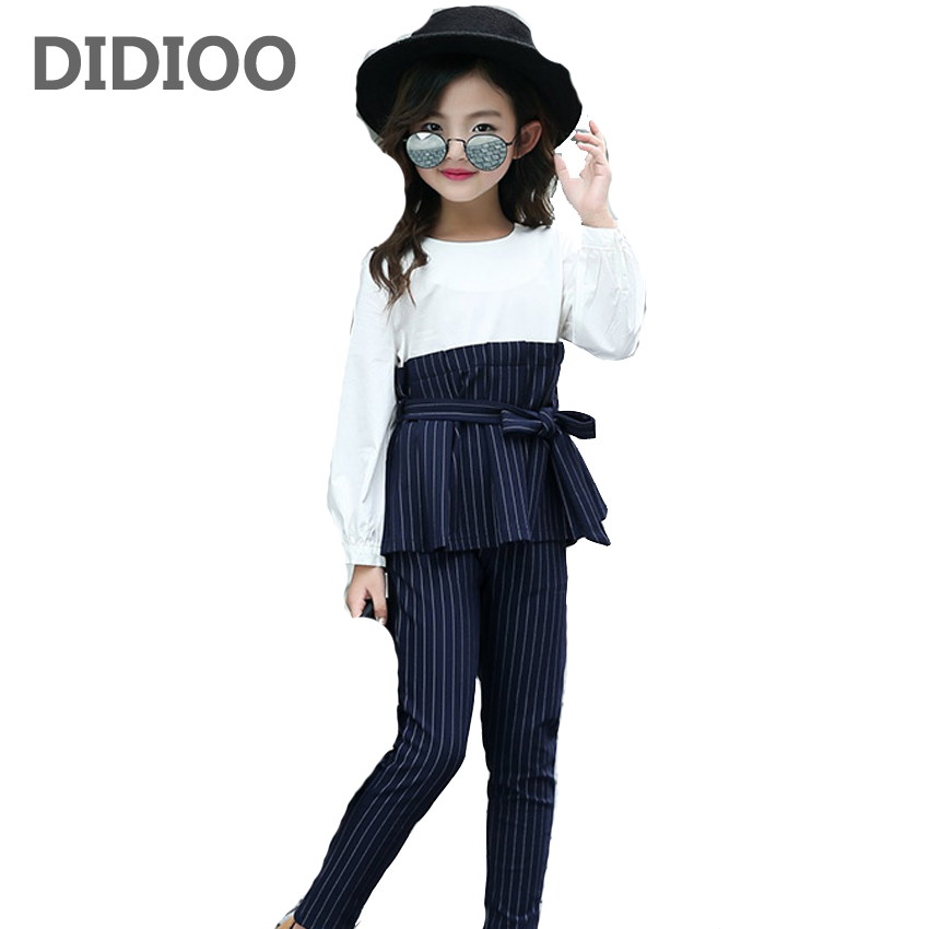 Kids Stripe Outfits for Teenage Girls Long Sleeve Clothes Sets Girls School Shirts & Pants Suits Big Size Children Clothing Sets