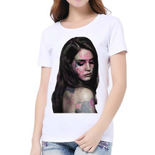 2018 MEW Fashion Lana Del Rey funny tshirt women 2018 new white casual short sleeve o-neck femme t shirt Broadcloth(China)