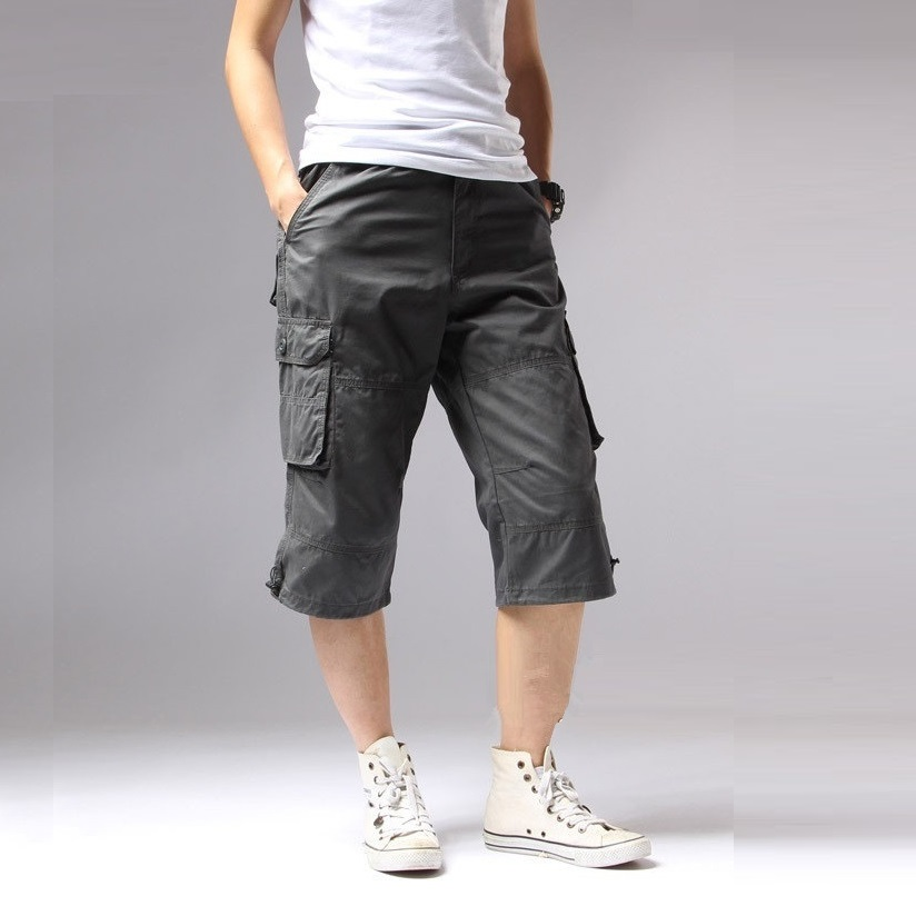 Long Length Cargo Shorts Men Knee Pocket Casual Cotton Elastic Waist Bermudas Male Military Style Summer 2018 Capri Breeche Army pocket