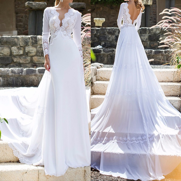 2019 Beach White Boho Wedding Dresses Lace and Chiffon V Neck Bridal Wedding Gowns vestido de
