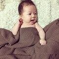 2016 0-3 Meses O Tempo-limitado Real Sólidos 0-3 Meses 4-6 Cobertor Do Bebê Swaddle 1 pc 100% Ar Condicionado de Malha 80*135 cm