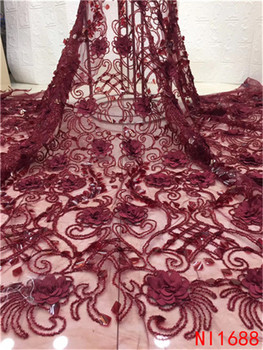3D Lace Fabric Applique Embroidered Mesh lace Ribbon Green Lace Fabric 2019 Latest  Nigerian Lace For Party Weddigng NI1688-1