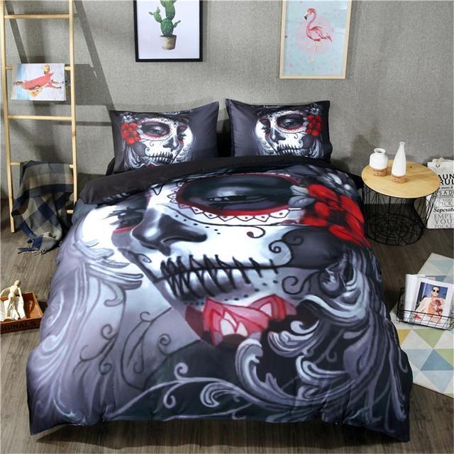 Skull Duvet Cover Set Fantasy Quilt cover set 3D Skull Bedding Set Twin/Queen /King size bedding set  Halloween  Black