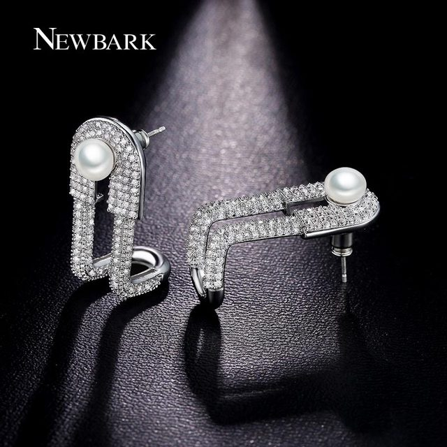 NEWBARK Brand Latest Stud Earrings 2 Imitation Pearls L Letter Silver Color  Women Christmas Luxury Gifts 571d07a76968