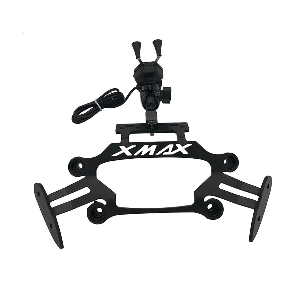 For Yamaha XMAX300 400 125 250 2017-2020 Motorcycle <font><b>Phone</b></font> USB Stand <font><b>Holder</b></font> Bike Bicycle Mobile <font><b>Phone</b></font> 3.5-6inch GPS Plate Bracket image