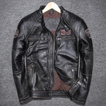 YOLANFAIRY Geniune Leather Jacket For Men Pure Cow Leather Vintage Jackets Spring Autumn Plus size 5XL Jaqueta de coruo MF124
