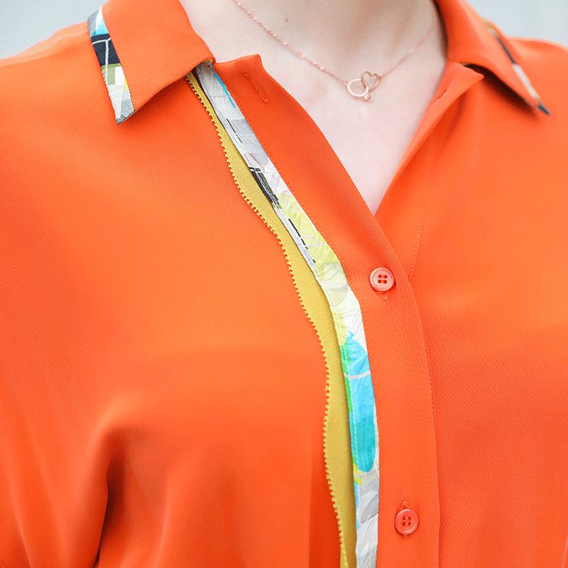 Tunique Manches Doux Rouge Dames Lourde Robes Cassé D'été Midi A725 Corail Chemise Chauve Orange Luxe Voa Soie Robe souris De Femmes Casual Vêtements OBH8nqU
