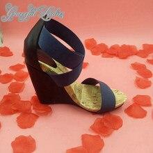 Navy Blue Women Wedge Sandals Cross Strap Ankle Strap Open Toe Ladies Shoe Sandals 2016 New Real Photo sandale femme talon