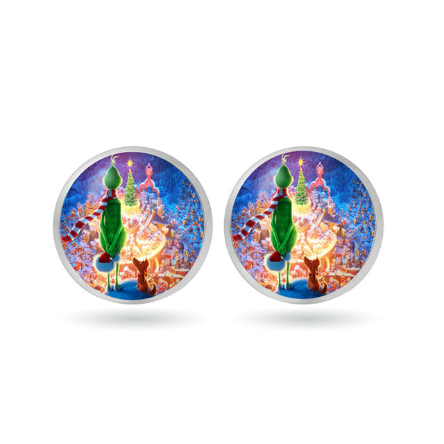 3cccaa1a55cc4 The Grinch Ear Stud Earrings glass Circle Animal Earrings for The Grinch  Anime Jewelry Children's Toys Christmas gift Avengers