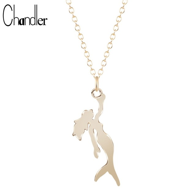 Gold Silver Plated Mermaid Charm Necklace Long Link Chain Pendant Beach Sea-maid Statement Figure Love Jewelry For Women Ladies