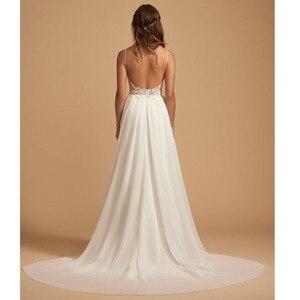 Image 3 - LORIE Boho Wedding Dress Spaghetti Strap A Line Chiffon Long Backless Beach Wedding Gown Appliques Lace Top Bride Dress 2019