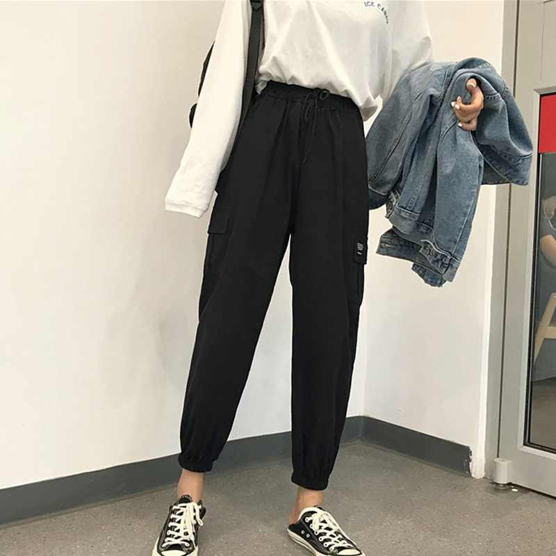 2019 Spring Streetwear Ladies Cargo Pants Women Casual Joggers Harajuku Solid Big Pocket Pants High Waist Loose Female Trousers