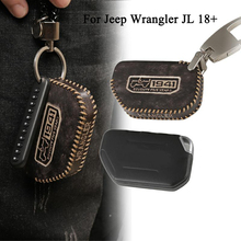 For Jeep Wrangler JL 2018 2019 Key Cover Organizer Black Leather Car Key Holder Bag Key Case Car Interior Accessories For Jeep convenient durable leather key case holder for car black