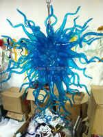 Frete Grátis Brilho Azul Murano Lustre De Vidro Da Lâmpada