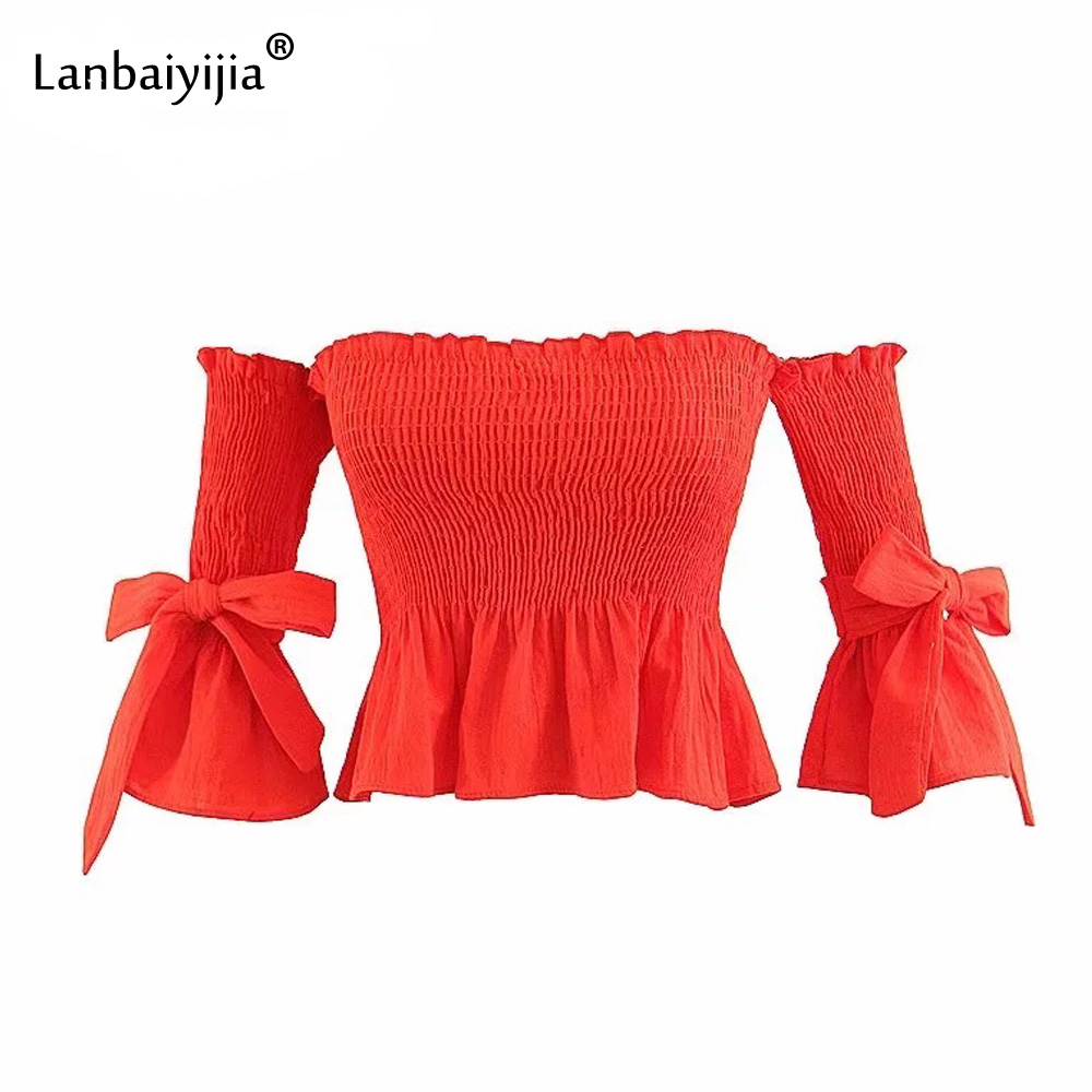 Lanbaiyijia Newest chest wrap Slash neck T shirt Half Flare Sleeve bowknot t shirts Women t shirt sexy backless Shirt 3 Color